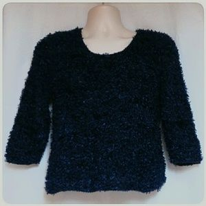 Q & A Sweaters - Fuzzy /Furry Navy Knit Top/Sweater Size Medium