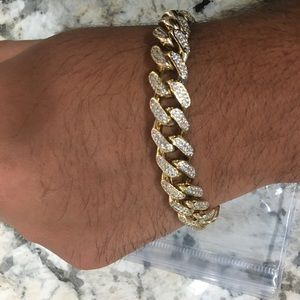 14k Gold plated Iced Out CZ Diamond Chain+bracelet