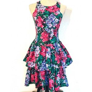 Vintage floral 80's halter ruffle skirt dress!