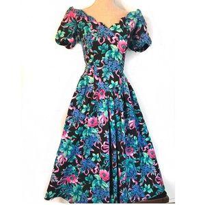 Vintage off the shoulder Floral 80's dress