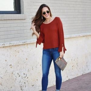 'Cozy Weekend' knit top bell sleeve sweater
