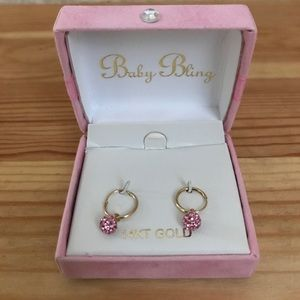 Other - NIB- Baby bling 14kt gold earrings