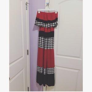 Dresses & Skirts - Crimson/black/houndstooth maxi dress!