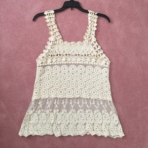 Sheer crocheted/lace cream top
