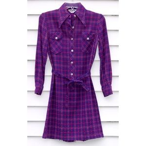 1970s Vintage Plaid Shirt Dress with Fabric Belt