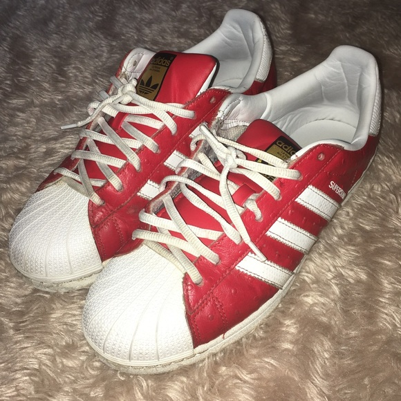Red White Adidas Shell Toes