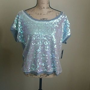 Gray Sequins Top