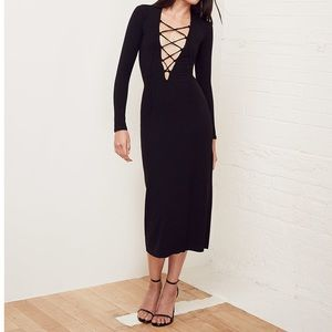 Reformation Lace Up Midi Edison Dress