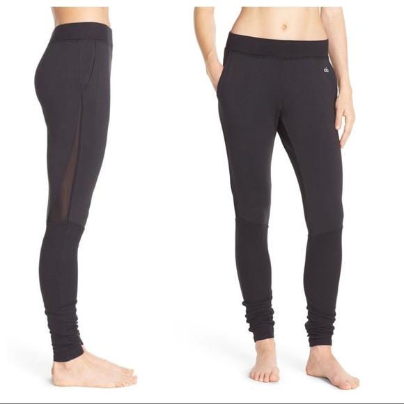 af942199c673b ALO Yoga Pants | Alo Yen Mesh Inset Ribbed Sweat Black | Poshmark