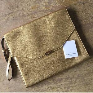Kurt Geiger Gold Leather Clutch
