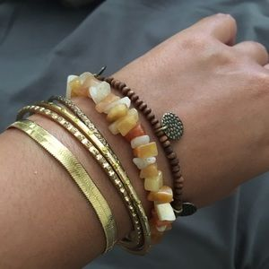 Boho brown and gold bracelet bangle bundle.