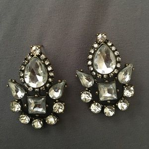 Rhinestone crystal art deco statement earrings