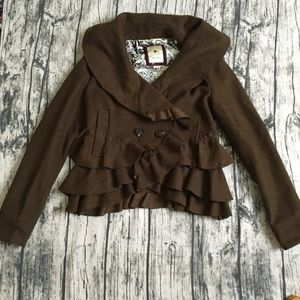 Anthropologie Elevenses Frilled Echelons peacoat 0
