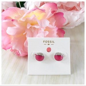 Fossil Pink Round Earrings