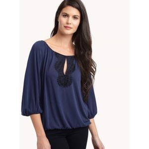 NWT Ella Moss navy black lace peasant top blouse