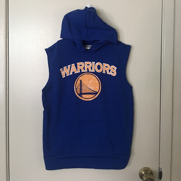 the latest a23ef c922d Boys large NBA Warriors sleeveless hoodie.