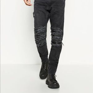 Zara biker ripped HOST PICK leather patched jeans