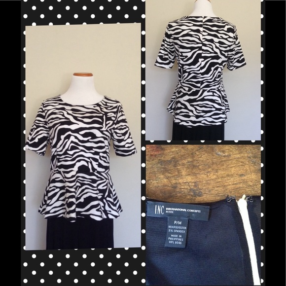 I.N.C. International Concepts Tops - I.N.C. Zebra Stripe Peplum Top
