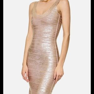 Dresses & Skirts - HERVE LEGER ROSE GOLD 'ellen' gown size Medium !!!