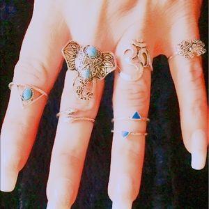 Jewelry - Boho hippie gypsy rings elephants - ohm - silver