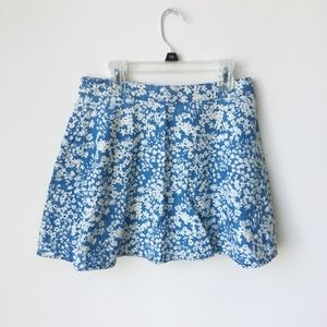 Dresses & Skirts - Blue and White Floral Pattern Zipper Skirt