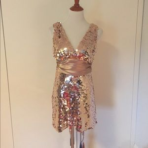 Mini Party Dress in Liquid Rose Gold Festive Club