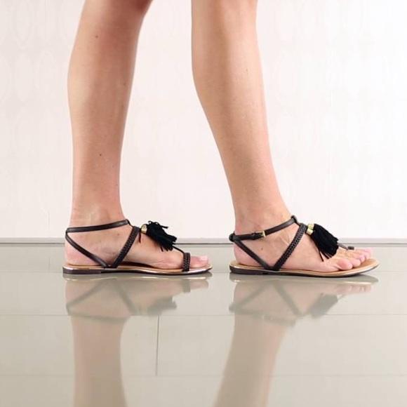 6be024b97 Tassel Fringe Black Gold Hardware Sandal