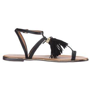 9d3673962 Urban Outfitters Shoes - Tassel Fringe Black Gold Hardware Sandal