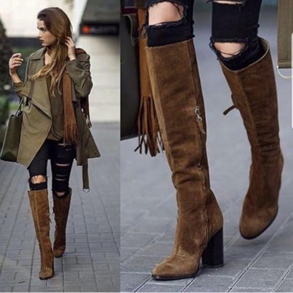 Zara Sexy Knee High Suede Heeled Boots