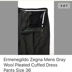 Ermenegildo Zegna Pants - ERMENEGILDO ZEGNA GRAY WOOL PLEATED CUFFED SIZE 36