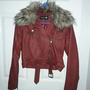 Red pleather crop jacket with removable fur
