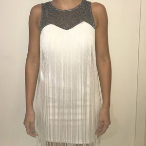 Dresses & Skirts - Sparkly Silver w/ White Fringe Dress