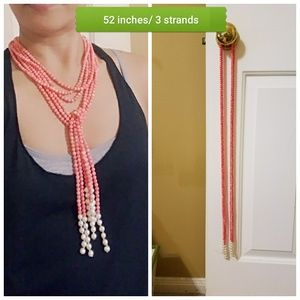 SALMON PINK ANGEL SKIN CORAL 3 STRANDS & PEARLS