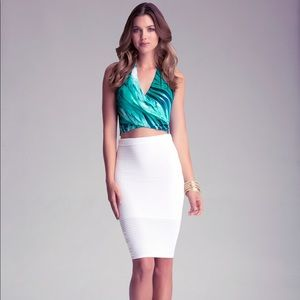 Bebe white bandage skirt