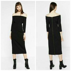 Zara Midi dress black off shoulder XS S