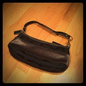 Coach signature small black shoulder bag