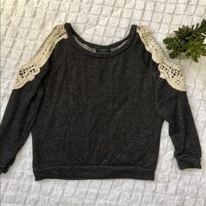 Charcoal gray cut out sweater