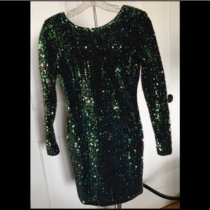 Motel Rocks Dresses - Green sequin party dress by MOTEL size small
