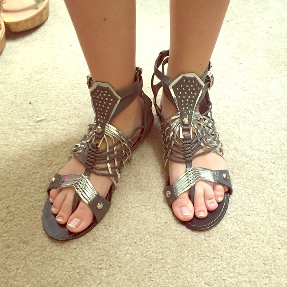 d4927f7955fb Bamboo Shoes - Grey   Silver weaved gladiator sandals
