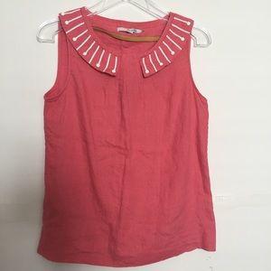 BODEN: coral sleeveless linen top