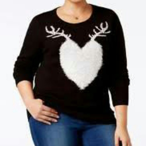 bfc343f8d35 Style   Co. Plus Size Sweater 1X Reindeer