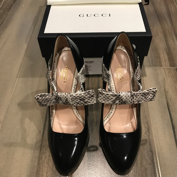 bb45ce12238 Gucci Nimue Snakeskin and Leather Mary Jane Pump