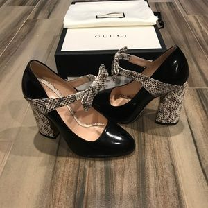9b73a8d14a2 Gucci Shoes - Gucci Nimue Snakeskin and Leather Mary Jane Pump