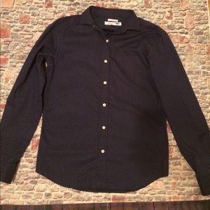 Navy Blue & White polka dot button down  shirt