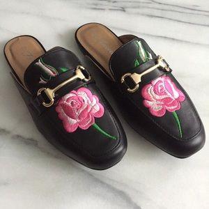 Shoes - Black Floral Rose Embroidered Flat Slide Mules