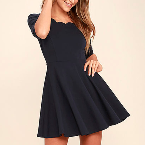 95accb7871d Lulu s Dresses   Skirts - Lulus Exclusive Tip the Scallops Navy Blue Dress