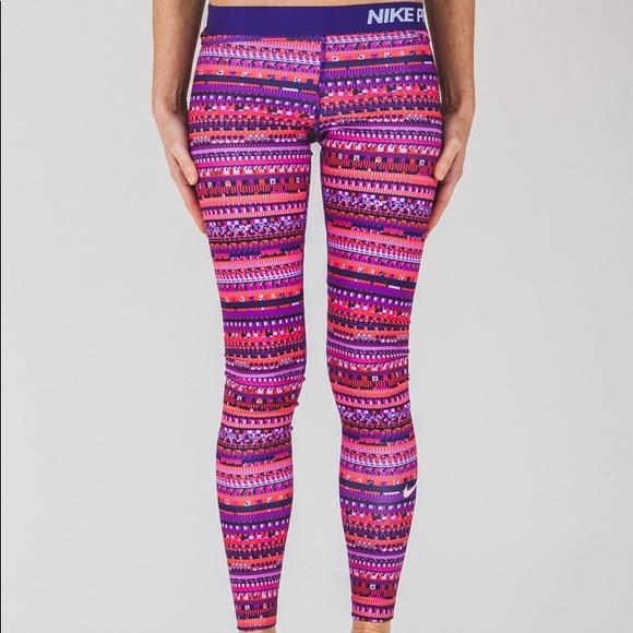 Women s Nike Pro Warm 8 Bit Leggings Pink Purple dfaf18bd73