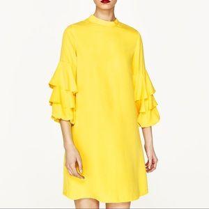 Zara yellow frilled sleeve dress