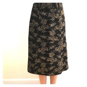 Golden Floral Print Skirt