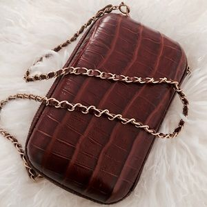 Handbags - Croc-Embossed Crossbody Clutch